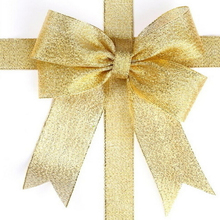 1PCS 25 Yard Organza Glitter Ribbons For Wedding Craft bow Decorations Gold Sliver Color 6mm 10mm 20mm 40mm(China)