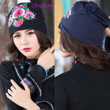 Cheshanf Mexican Style Ethnic Vintage Black Blue Embroidery Flowers Bandanas 2017 Women Winter Original Hippie Hat Free Shipping
