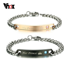 Vnox Her Prince His Princess Couple Bracelets with CZ Stone Lover Crown Charm Bracelets For Women Men(China)
