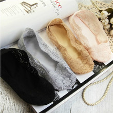 women sock 10piece=5pairs/lot female invisible socks slippers shallow mouth summer thin lace low cut Socks ankle heal short sock(China)