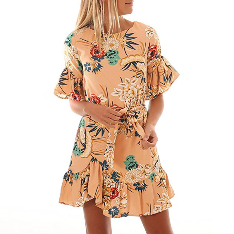 Lossky Summer Women Beach Dress 2018 Bohemian Floral Print Boho Dress O-Neck Short Sleeve Ruffle Mini Chiffon Dress With Belt 12