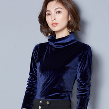 Fall Clothes 2017 New Autumn and Winter Top Women Long Sleeve Velvet T-shirt Ladies Turtleneck Pleuche Tshirt Sexy Tops(China)