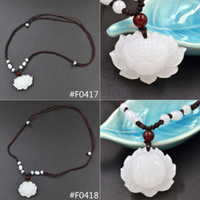 Lychee Hand Carved Lotus Pendant Beads Decoration Woven Necklace Jewelry for Men Women(China)