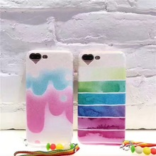 Super Fashion Lovely Rainbow Stripe Candy Tassels Cortex Case Cover For OPPO R7 R7Plus R9 R9Plus