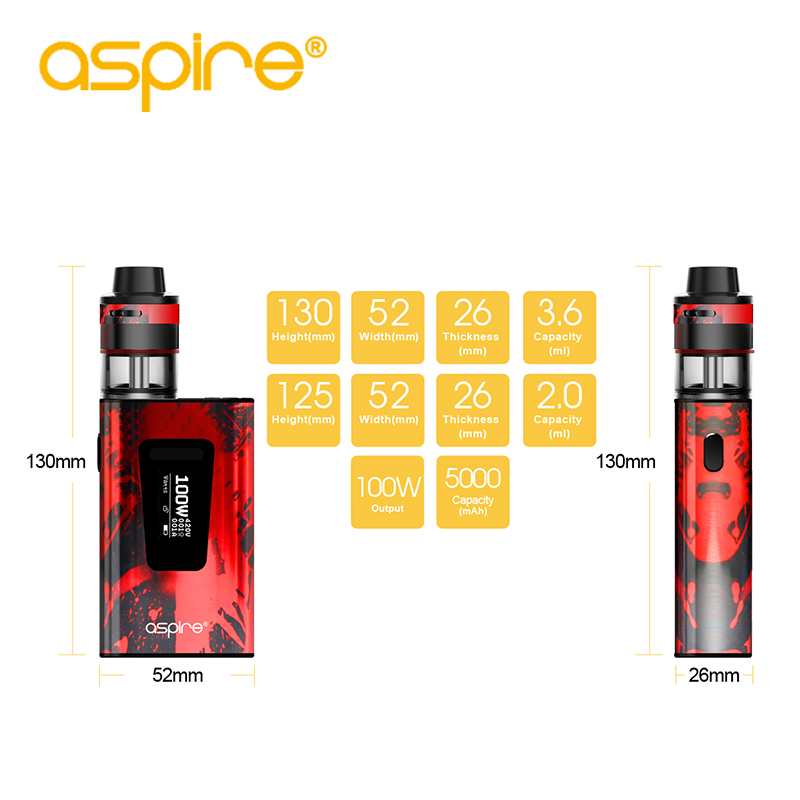 Electronic Cigarette Aspire Typhon Revvo 100W Vape Kit E Cig Device with 5000mah Built-in Battery and 2ML Revvo Atomizer Tank 4