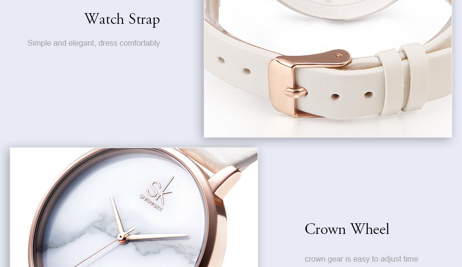 ساعة نسائية حزام جلد أنثى كوارتز الوان جميلة 17