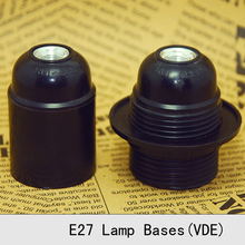 VDE Bakelite Lamp Holder E26E27 Vintage Edison Screw Bulb Lamp Socket Whole Tooth Self-Locking Retro Pendant Lamp Bases 3PCS/Lot