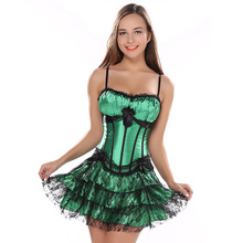 stripe green corset top with cup and mini skirt with shoulder straps bustier sexy lace lingerie Carnival dress body shaper(China)