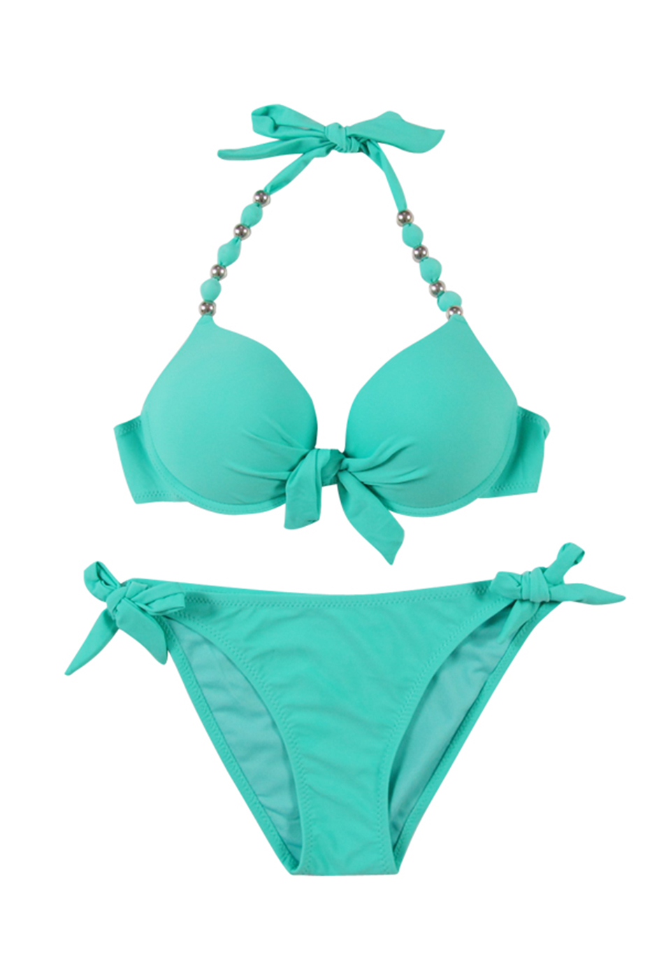 Faerdasi Halter Bikini Set Low Waist Bathing Suits Women Sexy Push Up Beachwear with Tie Side and Center Bow Swimwear Swimsuit 38