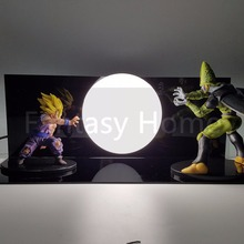 Dragon Ball Z Action Figure Son Gohan vs Cell DIY Display Toy Dragonball GohanSuper Saiyan Figuras DBZ Figure +Bulb+Base