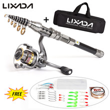 Lixada Telescopic Spinning Fishing Rod Reel Combo Full Kit  with Fishing Line Lures Hooks Fishing Pole Set with Carrier Bag Case