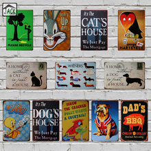 8X12inch Cute Dog Cat Bird Metal Plate Bar House Gallery Garage Vintage Tin Signs Poster Retro Plaques Room Wall Decor Paintings(China)