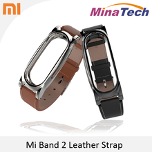 Original leather Strap For Xiaomi Mi Band 2 Leather metal strap For MiBand 2 Wristbands Replacement Accessories For Mi Band 2
