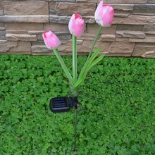 Hot Tulip Flower Solar Power 3 LED Light Garden Yard Way Lamp Outdoor Landscape Free Shipping & Wholesale