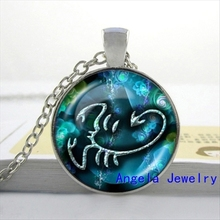 NS-00249 New Fashion Glass Dome Necklace 12 Zodiac Necklace Gemini Pendant Zodiac Sign Jewelry Glass Picture Pendant