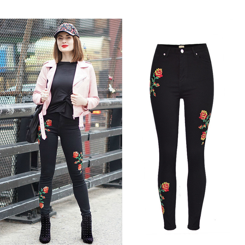 Hot Sexy High Waist Denim Stretchy Black Jeans Embroidery Rose Fashion Skinny Full Length Bodycon Tight Women Pencil Jeans Femme (9)