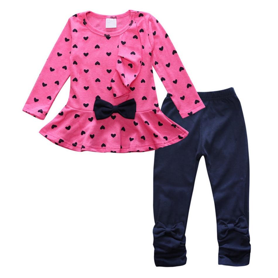 Free shipping !!! 2017 New arrival children cotton tracksuit Love knot 2 pcs/ set children girls clothing set