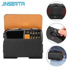 JINSERTA Old Men Phones PU Leather Horizontal Loop Belt Holster Pouch Bag Case for ZTE L660 Old Phone Litchi pattern Phone Case(China)