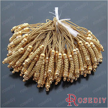 Wholesale 25*5mm Gold color Cords with Copper Findings Copper for Mobile phone Hanger Making 10 pieces(JM5083)