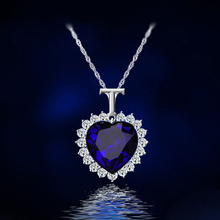 Classic Zircon Titanic Ocean Heart Necklace Dark Blue Crystal Heart Pendant Statement Chain Necklace Woman Jewelry