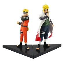 2Pcs/lot Naruto Action Figures Naruto Shippuden Minato Namikaze and Uzumaki Naruto Collectible Model Doll Toys PVC Figurine 18cm(China)