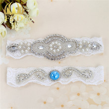 Wedding Garter Bridal Garter White Couture Pearl and Crystal Rhinestone Garter and Toss Garter Set on White Lace 2pcs /lot