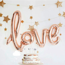 Large 40inch Romantic Wedding Link LOVE Letter Balloon Birthday Party Valentine's Day Decoration Helium Foil Globos