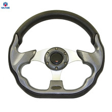 waase Universal 320mm PU Leather Racing Sports Auto Car Steering Wheel with Horn Button 12.5 inches Carbon Look(China)
