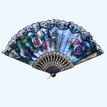 1Pcs Spanish Lace Floral Pattern Women Folding Hand Fan Female Dancing And Party Decoration Random Color 0003