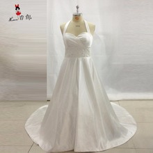 Vestido de Noiva Plus Size Wedding Dress Satin Halter Wedding Gowns Open Back Sweep Train Lace Bride Dresses Custom Made Buttons(China)