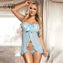 Comeondear Price Promotion Lingerie Sexy Fashion Style Super Deal Lace Lingerie RK70200 Blue Halter Front Open Sexi Lingerie