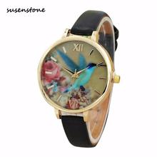 Susenstone Fashion Classic Ladise Watches Blue Hummingbird Women Leather Quartz Wrist Watch Ladies Clock Relogio Feminino Y25