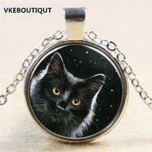Hot! Night Sky Under Black Cat Pendant Necklace Antique 3/Color Chain Glass Necklace Vintage Jewelry Gift For Women Men(China)
