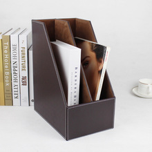 2-slot wood leather desk file book box magazine self holder document filing organizer case brown 221B