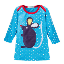Blue Long Sleeve Girl Dress with Dots Fancy Girls Chinese Dress with Mouse Pattern Warm Spring Sweater Dress for Kids Costume