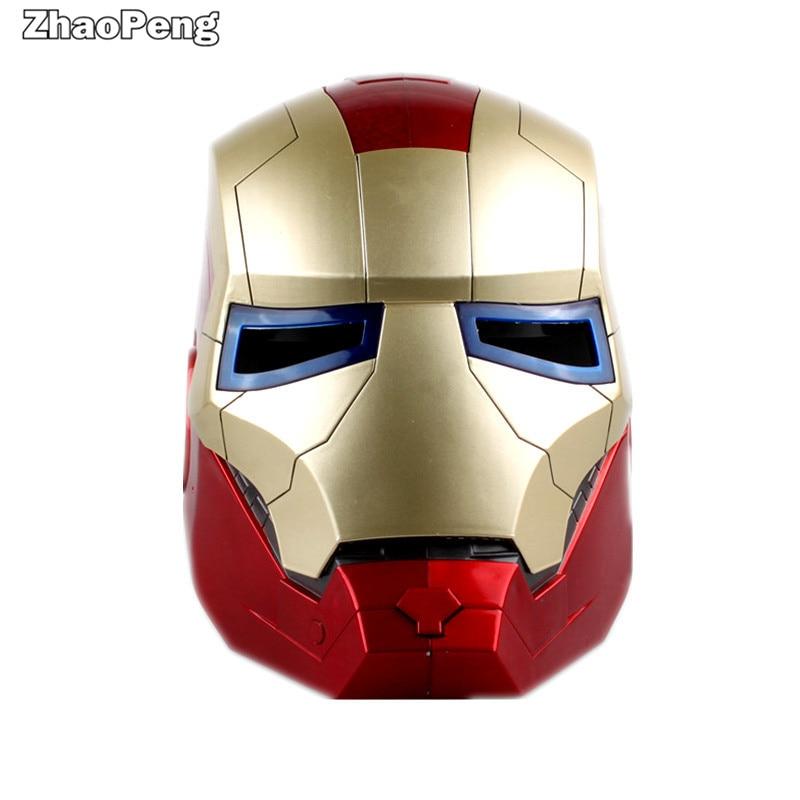 22cm Shield America Avengers iron Man Helmet Light Eye Cosplay Action Figure Toys Juguete Kid Collection Model<br>