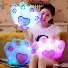 BOOKFONG Hot Sale Colorful LED Luminous Bear Paw Pillow LED Light Pillow Plush Pillow Soft Cushion Kids Toys Party Birthday Gift(China)