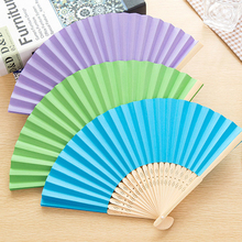 Hot 2 Pcs Bamboo Paper Pocket Fan Folding Hand Held Chinese Style Outdoor Wedding Party Event Festival Party Supplies Decoration(China)