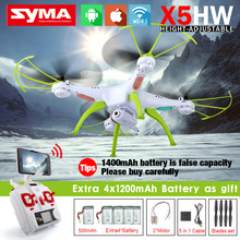 SYMA X5HW & X5HW-1 FPV RC Quadcopter Drone with WIFI Camera 2.4G 6-Axis VS Syma X5SW Upgrade RC Helicopter with 5 battery(China)