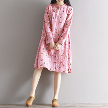 Chinese Style Clothing Girl's Beautiful Dress Cotton Linen Printed Dress Loose Spring Clothes Long Sleeve 0930