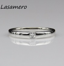 LASAMERO Ring For Women 0.12ct  Certified  diamond Ring Accents 18k Gold Real  Engagement Wedding Ring
