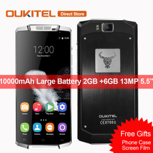 "10000mAh Oukitel K10000 4G LTE Smartphone Android 6.0 MT6735 Quad Core 2GB +6GB 13MP Super Large Capacity 5.5""Inch Mobile Phone"