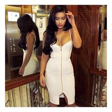 Bandage Dress Factory Brand Women Sexy Strap Zipper Knee Length Black Bandage Dress 2016 Ladies Elegant Bodycon Bandage Dress(China)