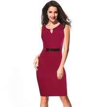 Elegant Women Sleeveless Knee-Length Sequined Cotton Stretchy Cocktail Party Wear to Work Casual Sheath Bodycon Pencil Dress