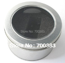 5 PCS Round USB box with window Metal packaging Transparent gift box D90xH60MM D3.55 x H2.37 inch Round Tin box with sponge(China)