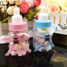 60pcs/lot Milk Bottle Candy Box Party Supplies Baby Feeding Bottle Wedding Favors and Gifts Box Baby Shower Baptism Decoration