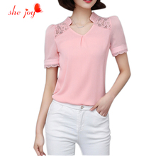 Vintage Puff Short Sleeve Chiffon Clothing Summer New Woman's 2016 Blousa Lace Deep V Office Draped Blouses chic Tops for Lady