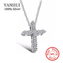 YANHUI Fine Jewelry Real 925 Solid Silver Cross Pendant Necklace Micro Pave CZ Diamant Original Silver Necklace For Women BKN056