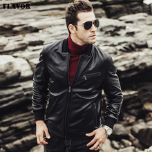 FLAVOR 2017 New winter Men Sheepskin Genuine leather jacket male lambskin coat Motorcycle Real Leather Jacket(China)
