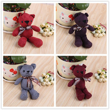 1 Pcs New Cartoon 18cm Mini Bear Teddy Bear Plush Toys with Keychain Bag Wedding Party Decorations Gray Coffee Red Color Bow Tie(China)